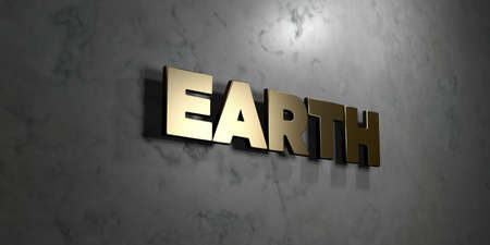 gold earth: Earth - Gold sign mounted on glossy marble wall  - 3D rendered royalty free stock illustration. This image can be used for an online website banner ad or a print postcard. Stock Photo