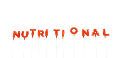 nutritional: NUTRITIONAL - word made from red foil balloons - 3D rendered.  Can be used for an online banner ad or a print postcard. Stock Photo