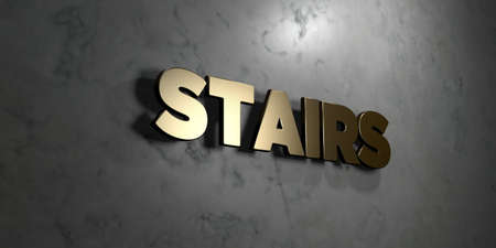 Stairs - Gold sign mounted on glossy marble wall  - 3D rendered royalty free stock illustration. This image can be used for an online website banner ad or a print postcard.