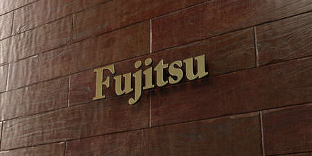 Fujitsu - Bronze plaque mounted on maple wood wall  - 3D rendered royalty free stock picture. This image can be used for an online website banner ad or a print postcard.