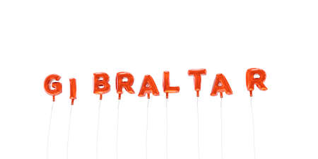 GIBRALTAR - word made from red foil balloons - 3D rendered.  Can be used for an online banner ad or a print postcard.