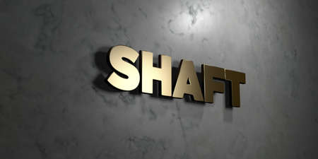 shaft: Shaft - Gold sign mounted on glossy marble wall  - 3D rendered royalty free stock illustration. This image can be used for an online website banner ad or a print postcard. Stock Photo