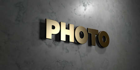royalty free photo: Photo - Gold sign mounted on glossy marble wall  - 3D rendered royalty free stock illustration. This image can be used for an online website banner ad or a print postcard.