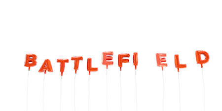battlefield: BATTLEFIELD - word made from red foil balloons - 3D rendered.  Can be used for an online banner ad or a print postcard. Stock Photo