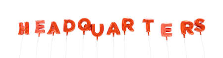 HEADQUARTERS - word made from red foil balloons - 3D rendered.  Can be used for an online banner ad or a print postcard. Stock Photo