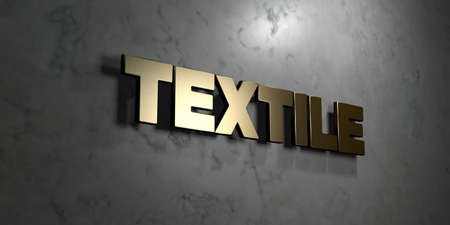 textile image: Textile - Gold sign mounted on glossy marble wall  - 3D rendered royalty free stock illustration. This image can be used for an online website banner ad or a print postcard. Stock Photo