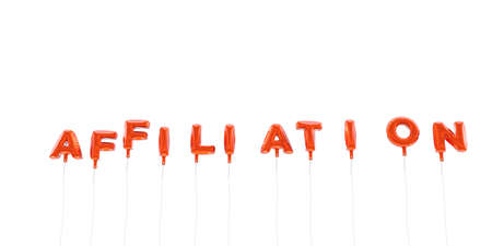 affiliation: AFFILIATION - word made from red foil balloons - 3D rendered.  Can be used for an online banner ad or a print postcard.