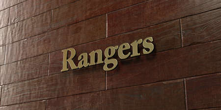 Rangers - Bronze plaque mounted on maple wood wall  - 3D rendered royalty free stock picture. This image can be used for an online website banner ad or a print postcard.
