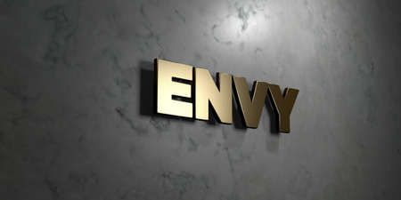 envy: Envy - Gold sign mounted on glossy marble wall  - 3D rendered royalty free stock illustration. This image can be used for an online website banner ad or a print postcard.