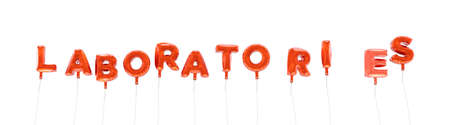 LABORATORIES - word made from red foil balloons - 3D rendered.  Can be used for an online banner ad or a print postcard. Stock Photo