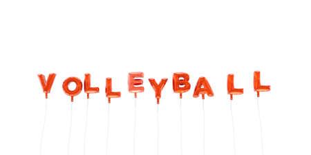 balon de voley: VOLEIBOL - palabra hecha de globos de la hoja de color rojo - 3D prestados. Puede ser utilizado para un banner publicitario en línea o una postal de impresión.