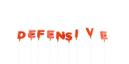 DEFENSIVE - word made from red foil balloons - 3D rendered.  Can be used for an online banner ad or a print postcard.