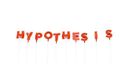 hipotesis: HIPÓTESIS - palabra hecha de globos de la hoja de color rojo - 3D prestados. Puede ser utilizado para un banner publicitario en línea o una postal de impresión. Foto de archivo