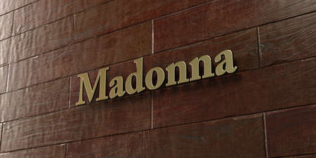 Madonna - Bronze plaque mounted on maple wood wall  - 3D rendered royalty free stock picture. This image can be used for an online website banner ad or a print postcard.