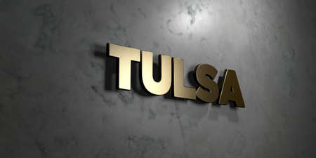 tulsa: Tulsa - Gold sign mounted on glossy marble wall  - 3D rendered royalty free stock illustration. This image can be used for an online website banner ad or a print postcard.