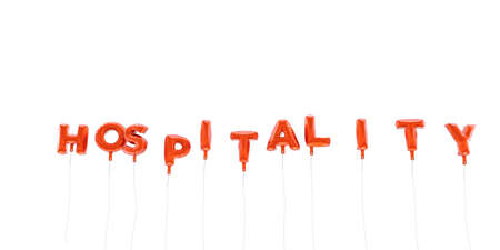hospitality: HOSPITALITY - word made from red foil balloons - 3D rendered.  Can be used for an online banner ad or a print postcard.
