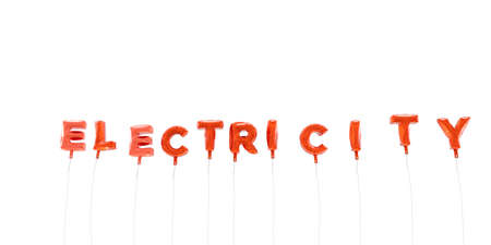 electricity 3d: ELECTRICITY - word made from red foil balloons - 3D rendered.  Can be used for an online banner ad or a print postcard.