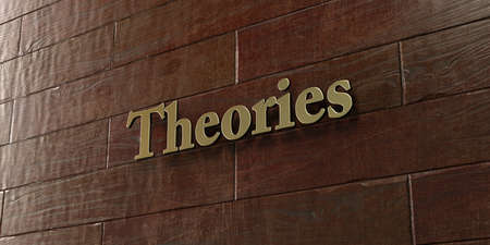 theories: Theories - Bronze plaque mounted on maple wood wall  - 3D rendered royalty free stock picture. This image can be used for an online website banner ad or a print postcard.