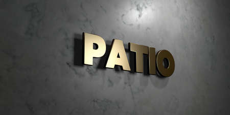 patio: Patio - Gold sign mounted on glossy marble wall  - 3D rendered royalty free stock illustration. This image can be used for an online website banner ad or a print postcard.
