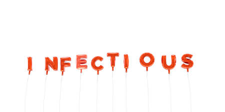 infectious: INFECTIOUS - word made from red foil balloons - 3D rendered.  Can be used for an online banner ad or a print postcard.