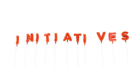INITIATIVES - word made from red foil balloons - 3D rendered.  Can be used for an online banner ad or a print postcard. Stock Photo