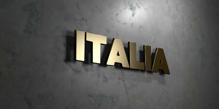 italia: Italia - Gold sign mounted on glossy marble wall  - 3D rendered royalty free stock illustration. This image can be used for an online website banner ad or a print postcard.