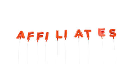 AFFILIATES - word made from red foil balloons - 3D rendered.  Can be used for an online banner ad or a print postcard.