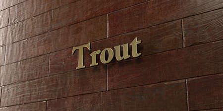 Trout - Bronze plaque mounted on maple wood wall  - 3D rendered royalty free stock picture. This image can be used for an online website banner ad or a print postcard.
