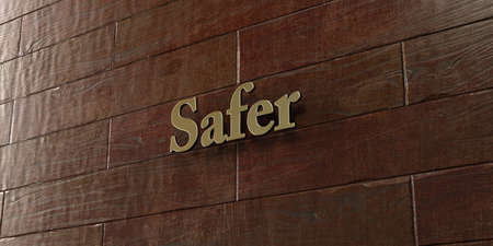 safer: Safer - Bronze plaque mounted on maple wood wall  - 3D rendered royalty free stock picture. This image can be used for an online website banner ad or a print postcard.