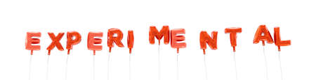 EXPERIMENTAL - word made from red foil balloons - 3D rendered.  Can be used for an online banner ad or a print postcard.