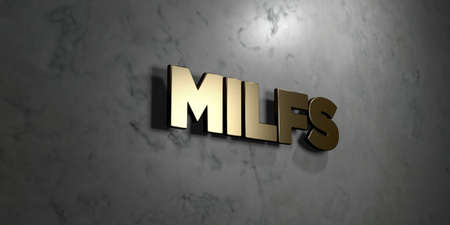 Milfs - Gold sign mounted on glossy marble wall  - 3D rendered royalty free stock illustration. This image can be used for an online website banner ad or a print postcard. Stock Photo