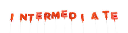 intermediate: INTERMEDIATE - word made from red foil balloons - 3D rendered.  Can be used for an online banner ad or a print postcard. Stock Photo