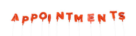 APPOINTMENTS - word made from red foil balloons - 3D rendered.  Can be used for an online banner ad or a print postcard.