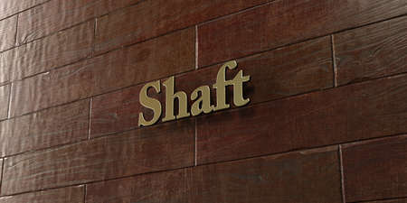 shaft: Shaft - Bronze plaque mounted on maple wood wall  - 3D rendered royalty free stock picture. This image can be used for an online website banner ad or a print postcard.
