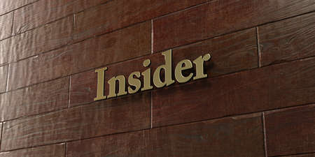insider: Insider - Bronze plaque mounted on maple wood wall  - 3D rendered royalty free stock picture. This image can be used for an online website banner ad or a print postcard. Stock Photo