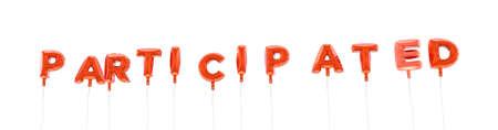 参加 - 赤箔バルーン - 3 D レンダリングから作られた言葉。 オンラインのバナー広告や印刷のはがきに使用できます。 写真素材