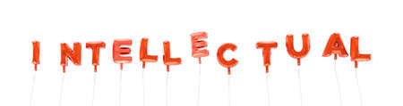 intellectual: INTELLECTUAL - word made from red foil balloons - 3D rendered.  Can be used for an online banner ad or a print postcard.