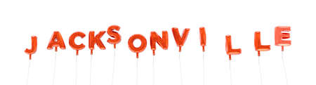 JACKSONVILLE - word made from red foil balloons - 3D rendered.  Can be used for an online banner ad or a print postcard. Stock Photo