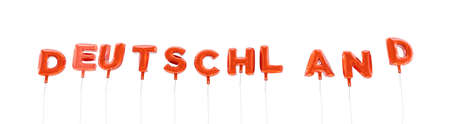 deutschland: DEUTSCHLAND - word made from red foil balloons - 3D rendered.  Can be used for an online banner ad or a print postcard.