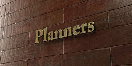 planners: Planners - Bronze plaque mounted on maple wood wall  - 3D rendered royalty free stock picture. This image can be used for an online website banner ad or a print postcard.