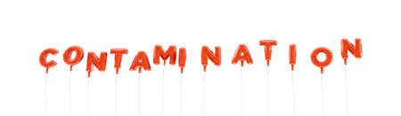 contamination: CONTAMINATION - word made from red foil balloons - 3D rendered.  Can be used for an online banner ad or a print postcard.