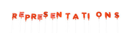 REPRESENTATIONS - word made from red foil balloons - 3D rendered.  Can be used for an online banner ad or a print postcard.