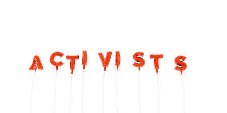 ACTIVISTS - word made from red foil balloons - 3D rendered.  Can be used for an online banner ad or a print postcard.