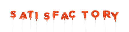 SATISFACTORY - word made from red foil balloons - 3D rendered.  Can be used for an online banner ad or a print postcard. Stock Photo