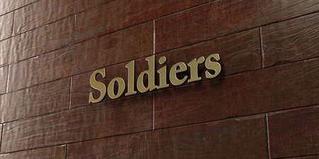 Soldiers - Bronze plaque mounted on maple wood wall  - 3D rendered royalty free stock picture. This image can be used for an online website banner ad or a print postcard.