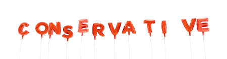 CONSERVATIVE - word made from red foil balloons - 3D rendered.  Can be used for an online banner ad or a print postcard.