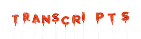 TRANSCRIPTS - word made from red foil balloons - 3D rendered.  Can be used for an online banner ad or a print postcard.