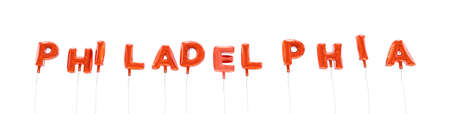 PHILADELPHIA - word made from red foil balloons - 3D rendered.  Can be used for an online banner ad or a print postcard.