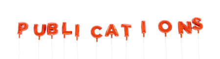 publications: PUBLICATIONS - word made from red foil balloons - 3D rendered.  Can be used for an online banner ad or a print postcard.