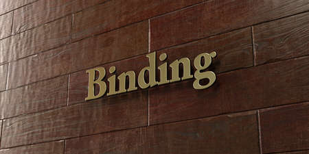binding: Binding - Bronze plaque mounted on maple wood wall  - 3D rendered royalty free stock picture. This image can be used for an online website banner ad or a print postcard.